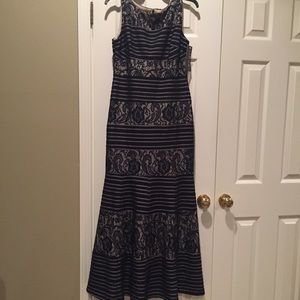 Sangria Navy and Nude Lace Dress